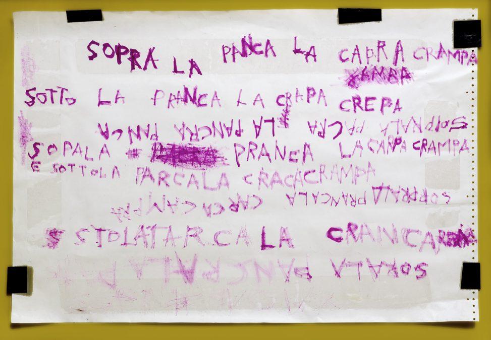 Sopra la panca la capra crampa (writing with Pechan prisms)